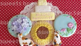 ひまわり、朝顔、紫陽花のお誕生日用アイシングクッキー