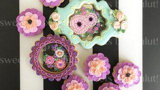 お花のステンドグラスアイシングクッキー