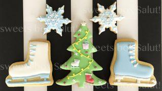 フィギュアスケートのクリスマスアイシングクッキー