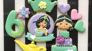 「アラジン」ジャスミンお誕生日用アイシングクッキー