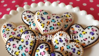 マルチカラーのレオパード(ヒョウ柄)アイシングクッキー