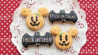 ミッキーかぼちゃのハロウィン用アイシングクッキー