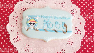 「ワンピース」ロゴのお誕生日プレートアイシングクッキー