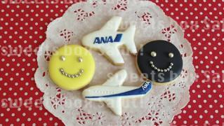 飛行機とスマイルのアイシングクッキー