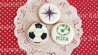 サッカーチームのプチギフト用プリントアイシングクッキー
