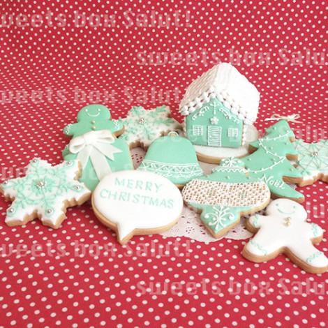 ティファニーなクリスマスアイシングクッキー1