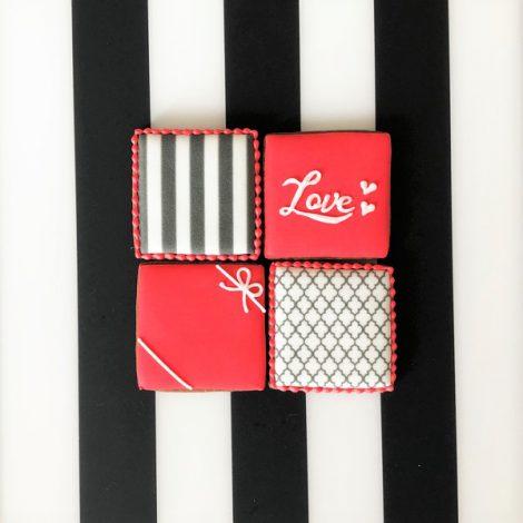 【販売終了】在庫限り・バレンタイン□スクエア□アイシングクッキーセット20211