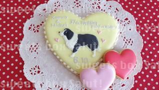 愛犬モチーフ結婚記念のアイシングクッキー