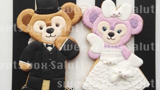 ダッフィー&シェリーメイの結婚式用アイシングクッキー