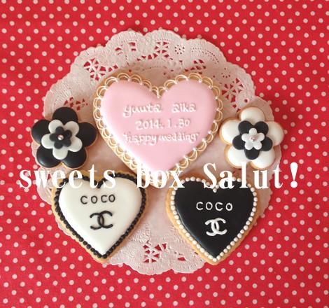 結婚お祝いにシャネルモチーフのアイシングクッキー