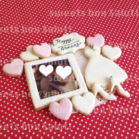 結婚祝いにフォトフレーム風プリントアイシングクッキー1