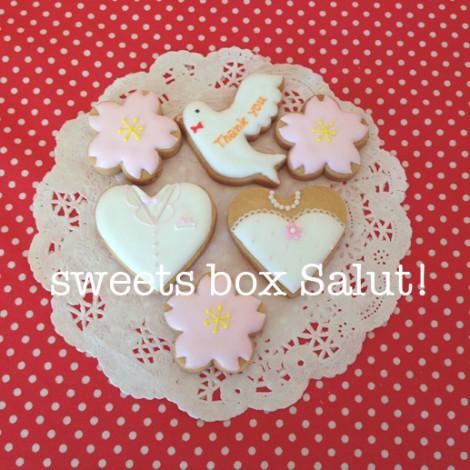 ウエディングプチギフトに桜と鳩のアイシングクッキー1