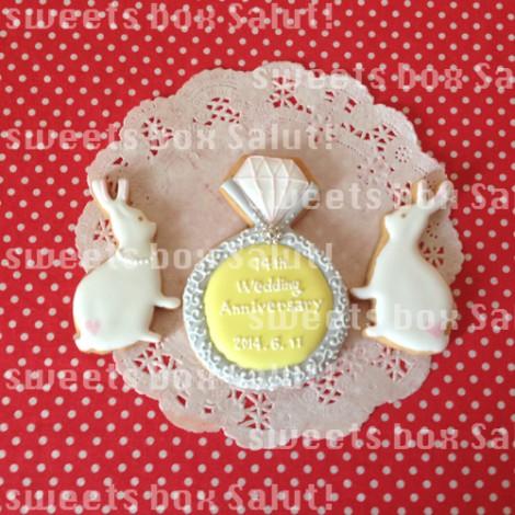 ダッフィー&シェリーメイの結婚記念日用アイシングクッキー2