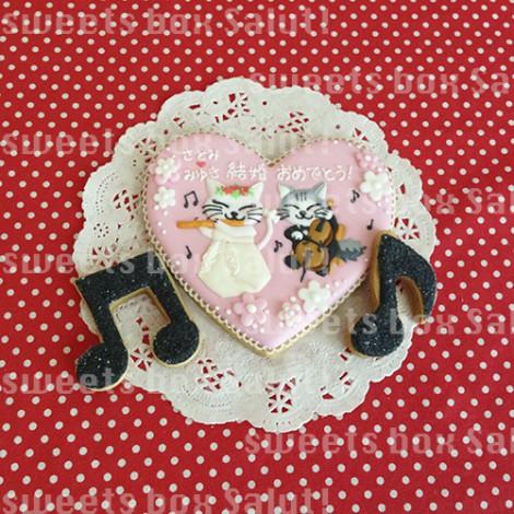 結婚お祝いにオリジナルイラストのアイシングクッキー1